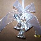 Bells Metal Silver 5 pc Wedding Bells w/Ribbon