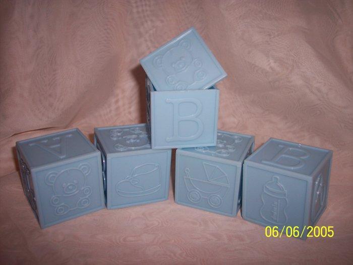 "Block Lid 2""x2""x2"" Baby Shower Favor 12 BLUE SOLID"