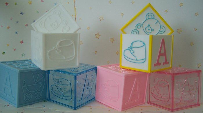 """Block Lid 2""""x2""""x2"""" Baby Shower Favor 24 PINK Solid & Clear"""