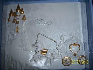 Cinderella Carriage Wedding Quinceanera Anniversary Accesories Gold English