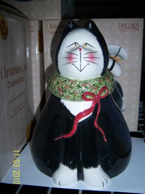 Christmas Cookie Jar Cat Sakura Oneida Earthenware NIB