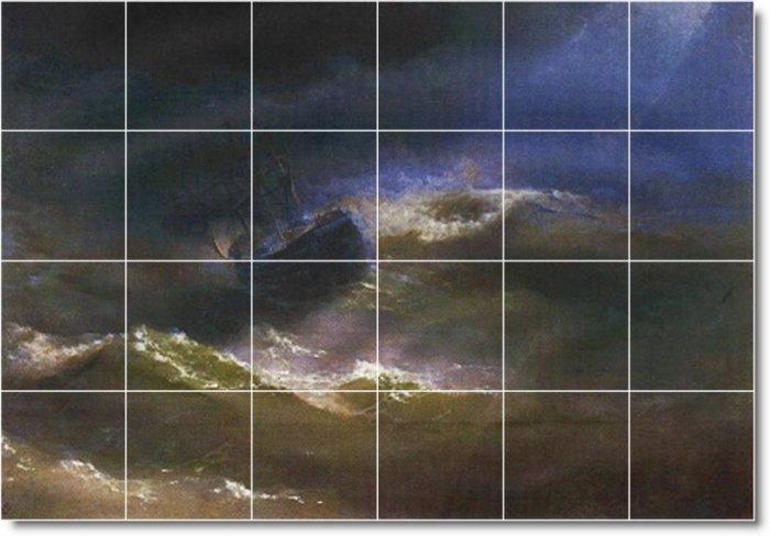 Aivazovsky Waterfront Mural Tile Wall Room Home Idea Remodeling