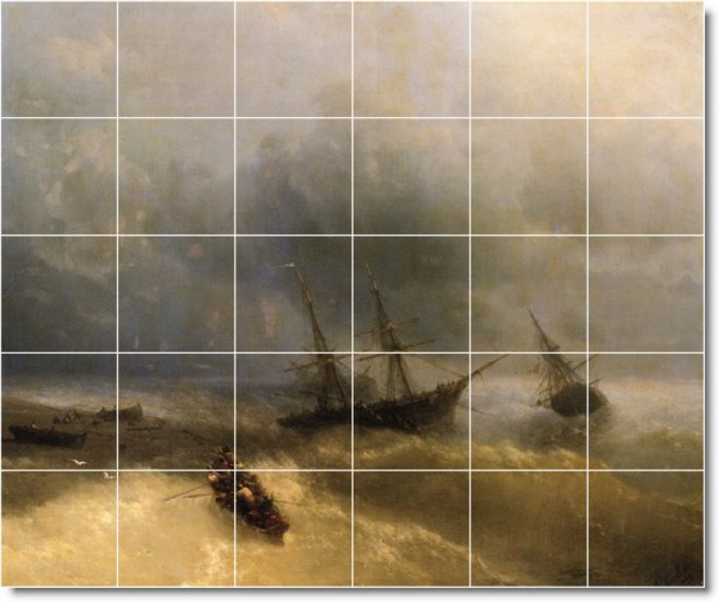 Aivazovsky Ships Wall Tiles Kitchen Traditional Decorating Home