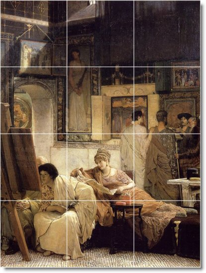 Alma-Tadema Women Mural Tile Room Remodeling Design Idea Interior