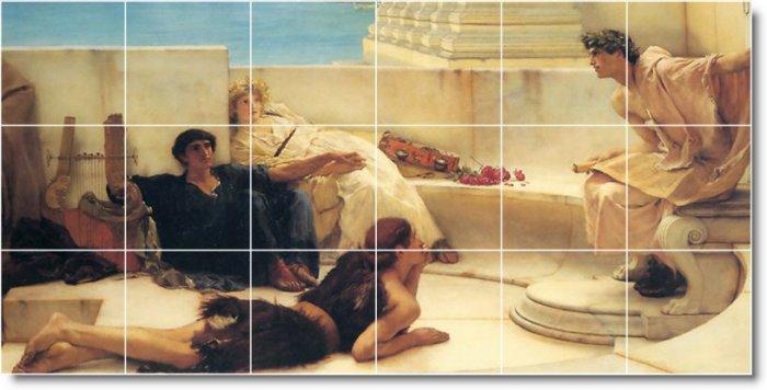 Alma-Tadema Historical Living Mural Room Tile Design Home Decor