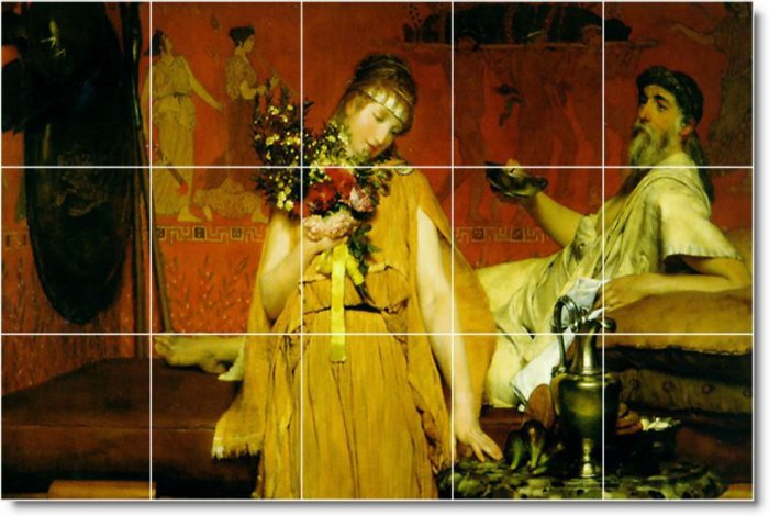 Alma-Tadema Men Women Dining Floor Tile Room Decor Residential