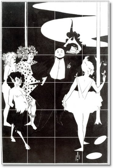Beardsley Illustration Mural Backsplash Tile Wall Floor Design