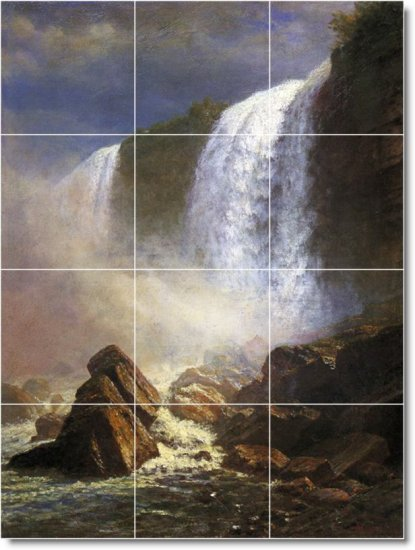 Bierstadt Waterfalls Dining Tile Mural Room Modern Home Remodel