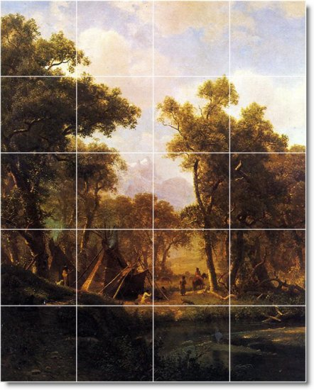 Bierstadt Indians Wall Bathroom Tiles Mural Shower Art Commercial