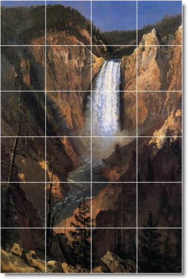 Bierstadt Waterfalls Room Living Murals Tile Remodel Home Decor
