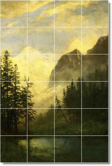 Bierstadt Landscapes Backsplash Tiles Kitchen Mural Decor Floor