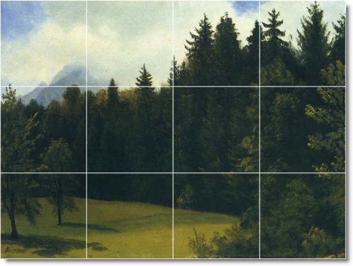 Bierstadt Landscapes Mural Living Room Interior Decorating Idea