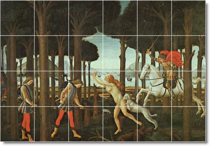 Botticelli Mythology Room Tile Living Mural Decor Interior Design
