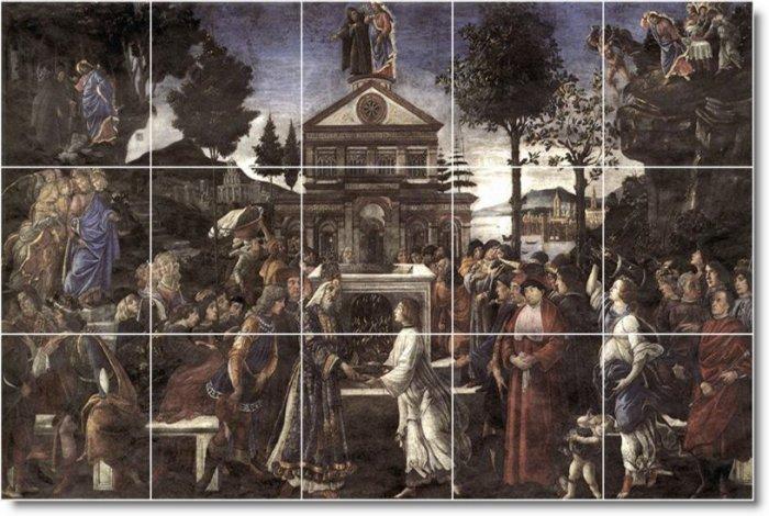 Botticelli Religious Room Mural Dining Tile Home Ideas Remodeling