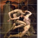 Bouguereau Mythology Room Murals Tile Living Contemporary Remodel