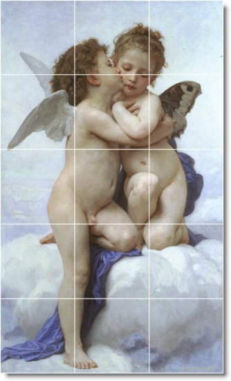 Bouguereau Angels Mural Tile Bedroom Renovations Ideas Commercial