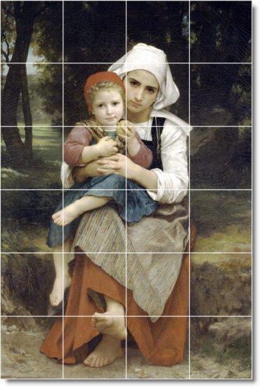Bouguereau Mother Child Living Tile Room Mural Decor Home Design