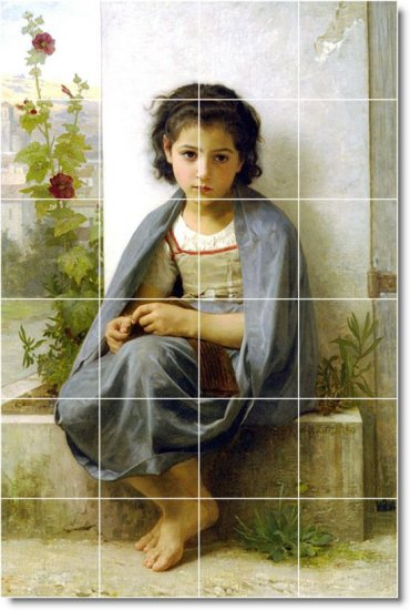 Bouguereau Children Mural Bedkitchen Tiles Floor Decor Remodel