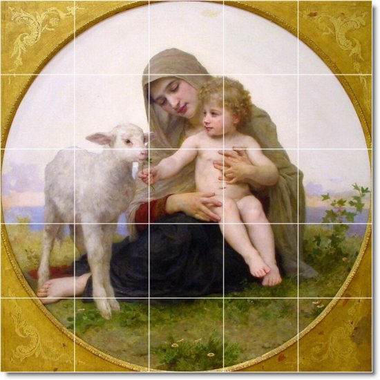 Bouguereau Mother Child Tiles Shower Renovation Home Traditional