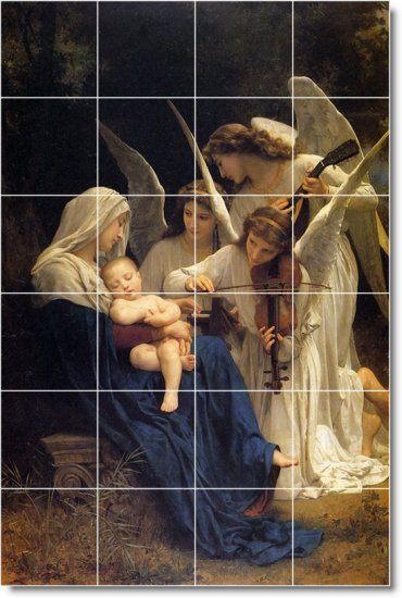 Bouguereau Angels Mural Backsplash Kitchen Wall Floor Decor Decor
