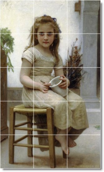 Bouguereau Children Tiles Bedkitchen Mural Remodel Decor Floor
