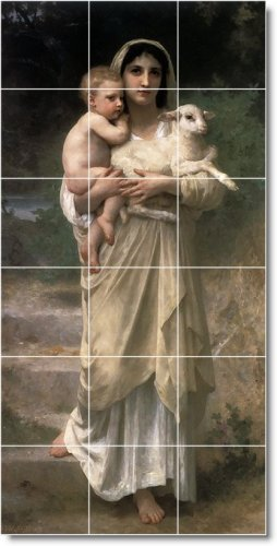 Bouguereau Mother Child Floor Kitchen Tile Decorate Modern House