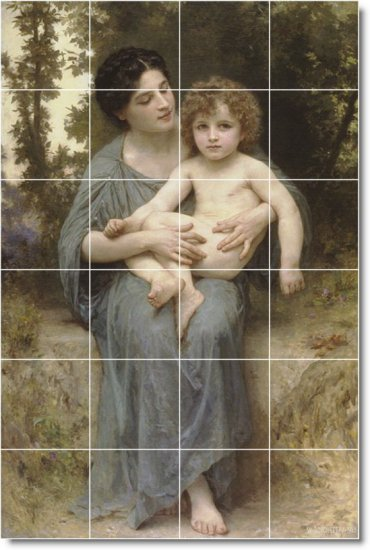 Bouguereau Mother Child Floor Tile Kitchen Decorate House Modern