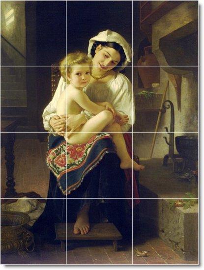 Bouguereau Mother Child Wall Mural Room Tiles Modern Design Home