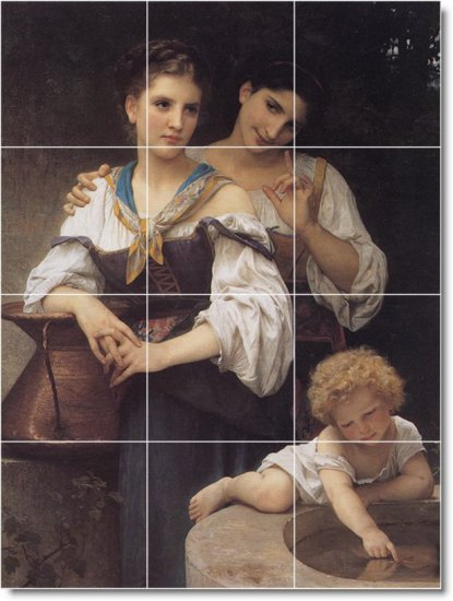 Bouguereau Mother Child Wall Tiles Mural Room Design Modern Home