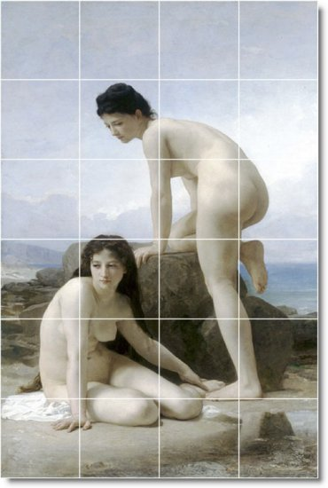 Bouguereau Nudes Living Tile Room Mural Remodel Ideas Interior