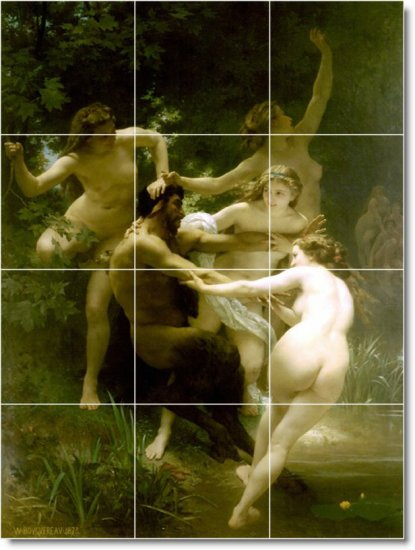 Bouguereau Mythology Tiles Mural Bathroom Wall Shower Decor House