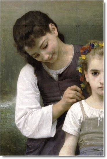 Bouguereau Children Tiles Mural Shower House Remodeling Design