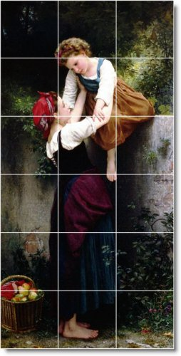 Bouguereau Mother Child Mural Wall Tiles Room Living Traditional