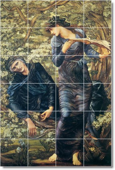 Burne-Jones Mythology Mural Wall Tiles Room Living Traditional