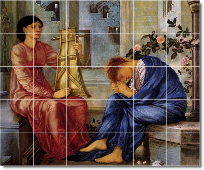 Burne-Jones Women Dining Tiles Wall Room Interior Idea Remodeling