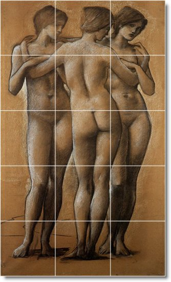 Burne-Jones Nudes Room Dining Wall Tiles Remodeling Interior Idea