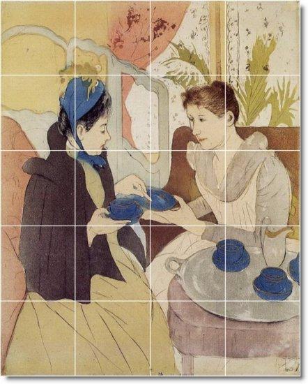 Cassatt Women Room Murals Tile Dining Traditional House Remodel