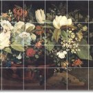 Courbet Flowers Wall Mural Tiles Shower Decor Interior Remodel