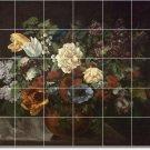 Courbet Flowers Wall Tiles Shower Mural Decor Remodel Interior