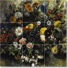 Delacroix Flowers Wall Bathroom Shower Murals Design Floor Decor