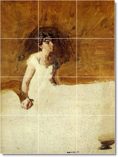 Eakins Illustration Wall Shower Bathroom Tiles Renovations Ideas