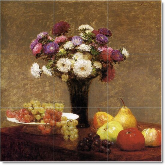 Fantin-Latour Fruit Vegetables Shower Murals Bathroom Tile Modern