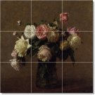 Fantin-Latour Flowers Wall Room Tile Dining Murals House Decor