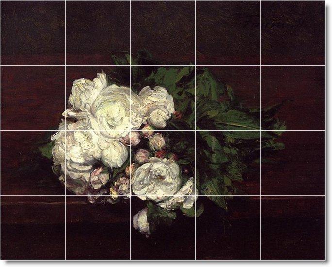 Fantin-Latour Flowers Ceramic Tiles Bathroom Art Home Remodel