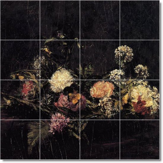 Fantin-Latour Flowers Tiles Room Design Idea Home Renovations