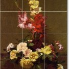 Fantin-Latour Flowers Mural Tile Room Dining Art Home Remodel