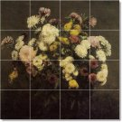 Fantin-Latour Flowers Tile Shower Mural Remodel Modern House