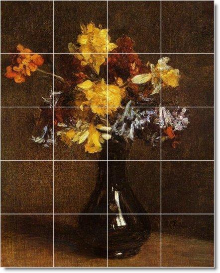Fantin-Latour Flowers Mural Room Dining Tile Wall Decor Home