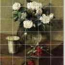 Fantin-Latour Flowers Tile Bathroom Mural Shower Modern Home