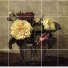 Fantin-Latour Flowers Tile Wall Bedroom Murals Remodel Ideas